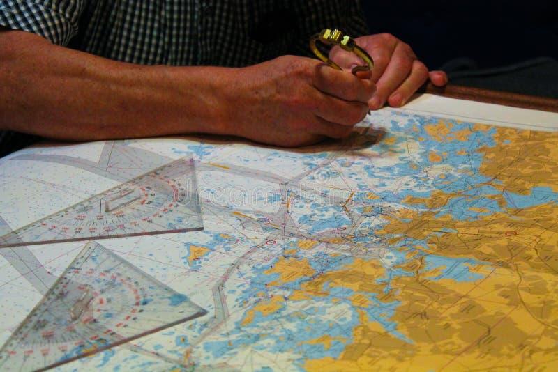 Navigations- ruttplanläggning royaltyfri fotografi