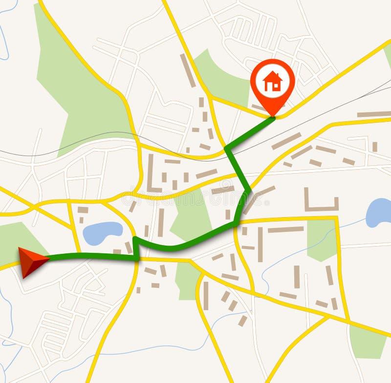 Navigationskarte mit Stift lizenzfreie abbildung