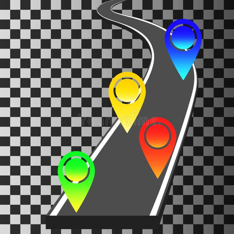 Navigationsschablone mit farbiger Stiftzeigern und -kurvenreicher Straße lizenzfreie abbildung