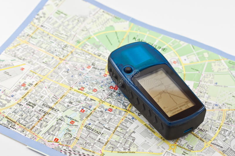Download Navigator is on the map stock photo. Image of monitor - 41059414