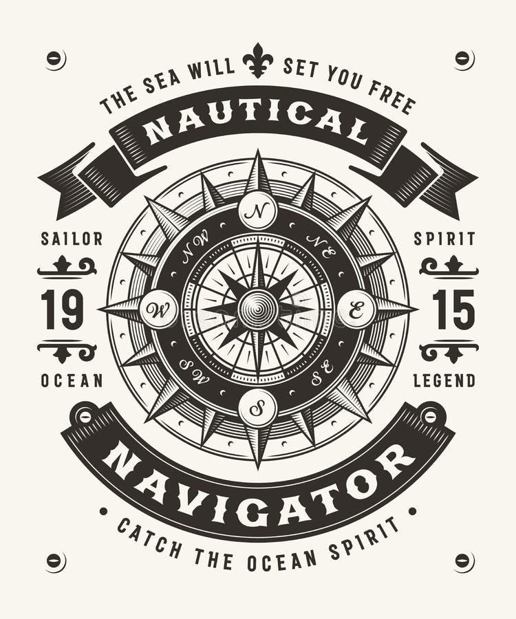 Navigatore nautico d'annata Typography One Color illustrazione vettoriale