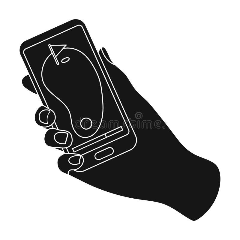 Navigatore nel telefono del campo da golf Singola icona del club di golf nel web nero dell'illustrazione delle azione di simbolo  royalty illustrazione gratis