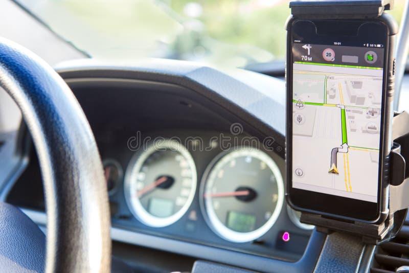 Navigatore sul cruscotto dell'automobile fotografie stock libere da diritti