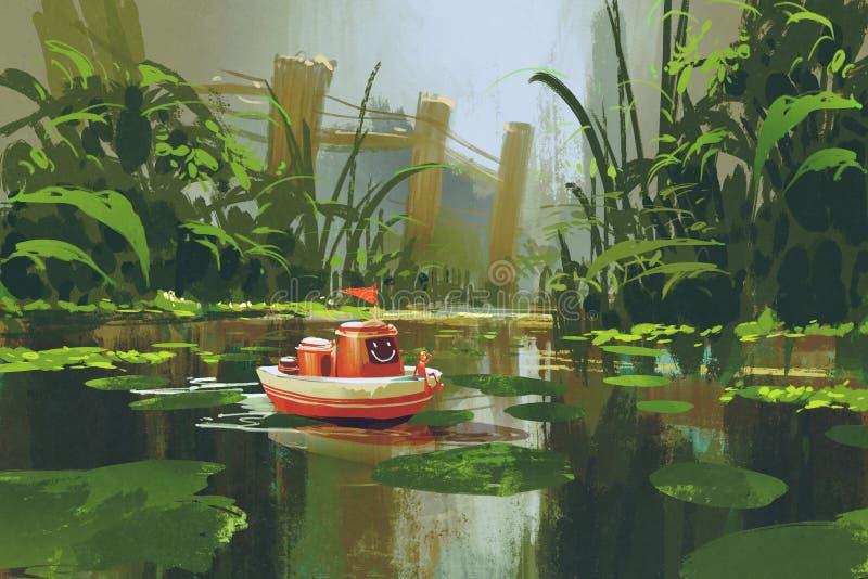 Navigazione del crogiolo di giocattolo sul fiume in foresta illustrazione vettoriale
