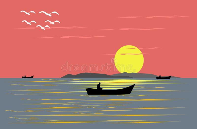 Navigazione del peschereccio nel mare di sera illustrazione vettoriale
