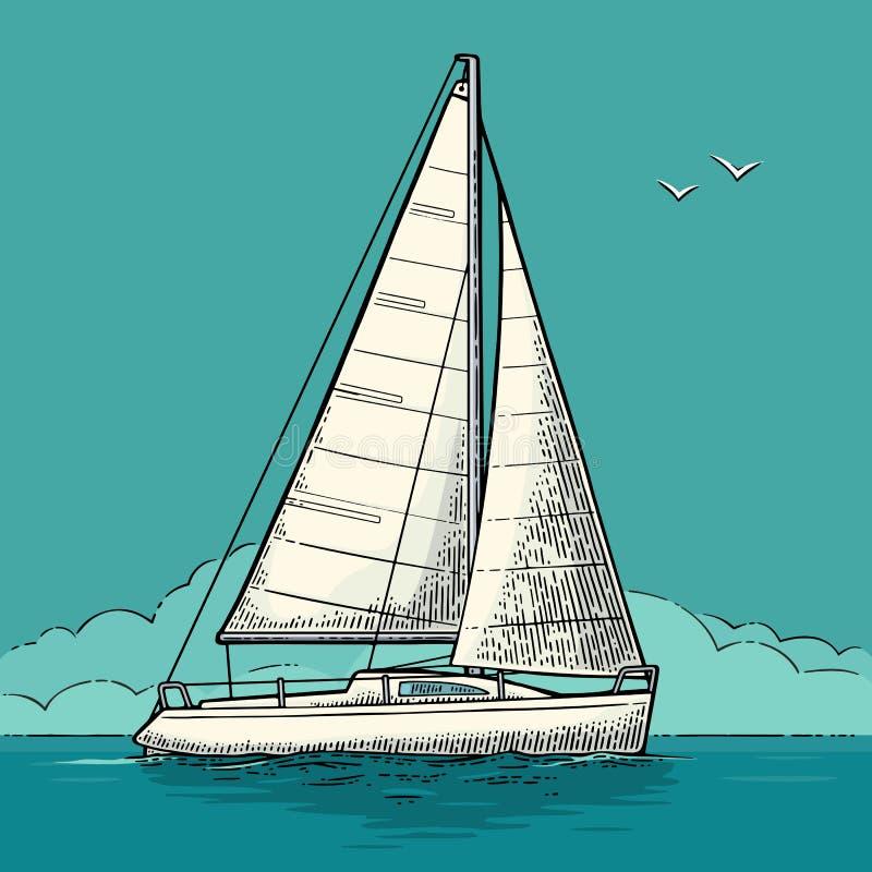 Navigazione dell'yacht Barca a vela Illustrazione piana disegnata vettore per l'yacht club royalty illustrazione gratis