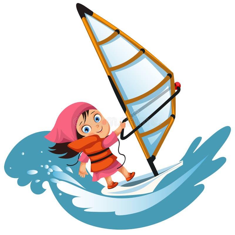 Navigazione della bambina del fumetto in giubbotto di salvataggio d'uso dell'oceano illustrazione di stock