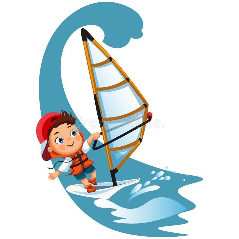Navigazione della bambina del fumetto in giubbotto di salvataggio d'uso dell'oceano royalty illustrazione gratis