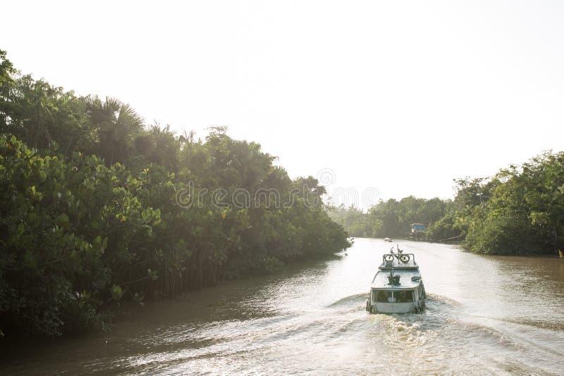 Navigazione della barca sul Rio delle Amazzoni fotografie stock