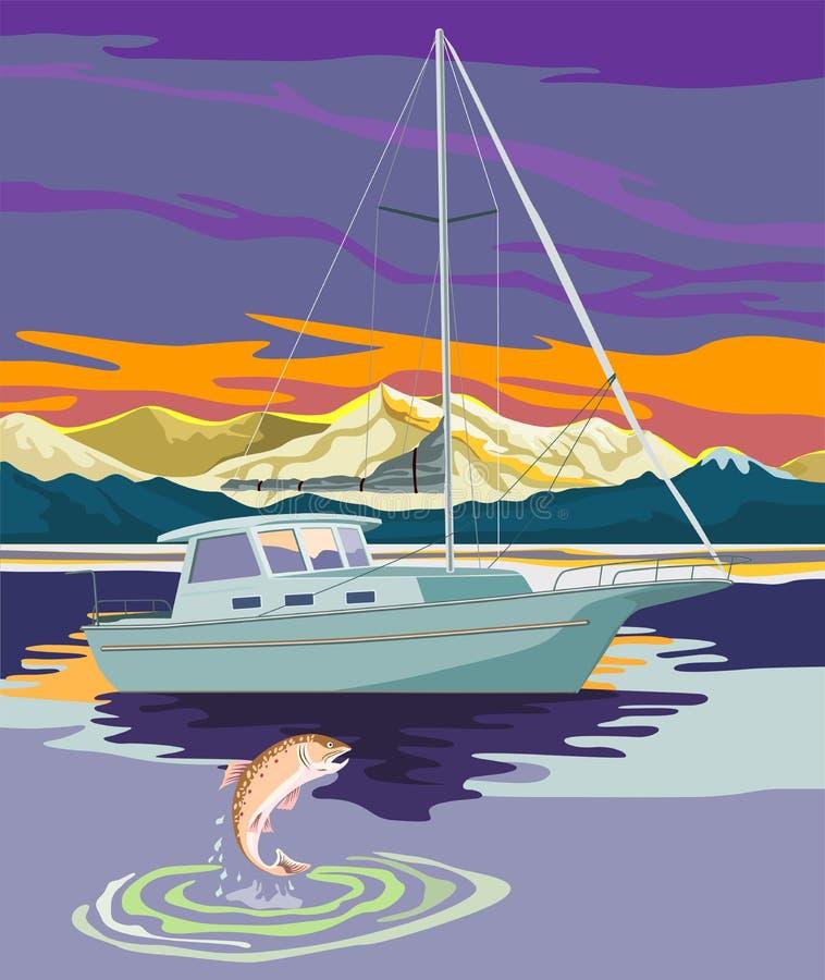 Navigazione della barca a vela con la trota fotografie stock