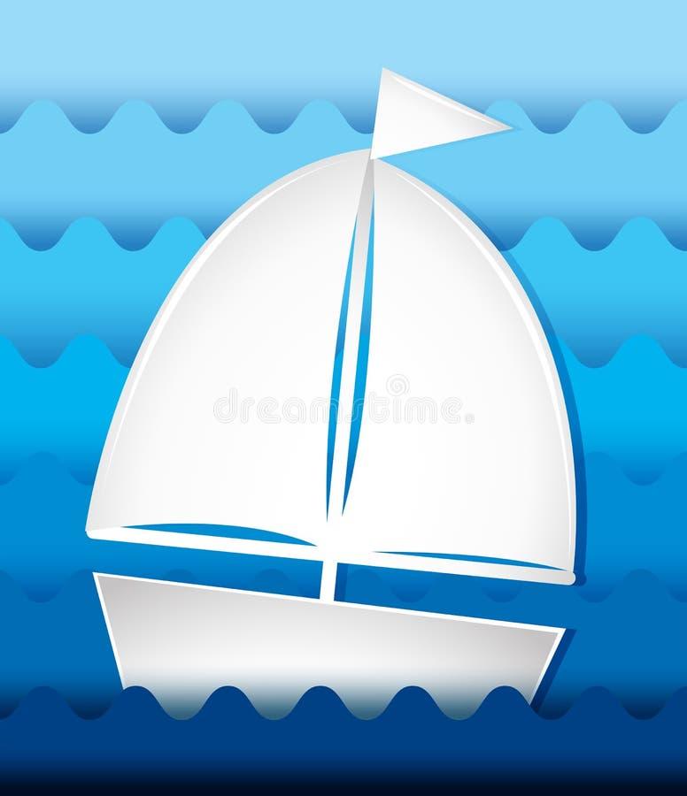 Navigazione della barca a vela in mare royalty illustrazione gratis