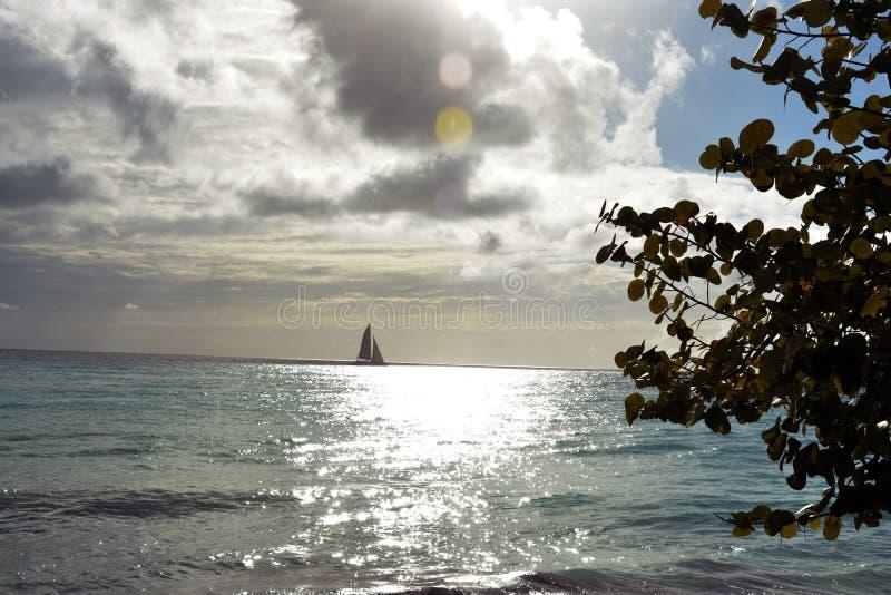 Navigazione della barca a vela sull'oceano nel tramonto immagine stock