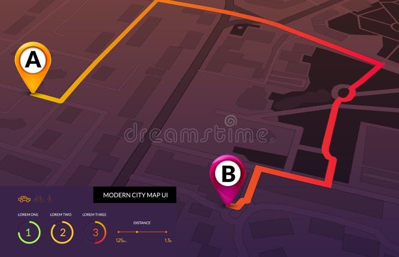 Navigazione della mappa della città infographic Interfaccia moderna di vettore della mappa stradale Concetto dell'itinerario dei  illustrazione di stock