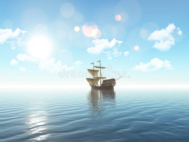 navigazione della nave 3D su un oceano blu illustrazione di stock