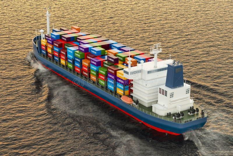 Navigazione della nave da carico nell'oceano, 3D illustrazione vettoriale