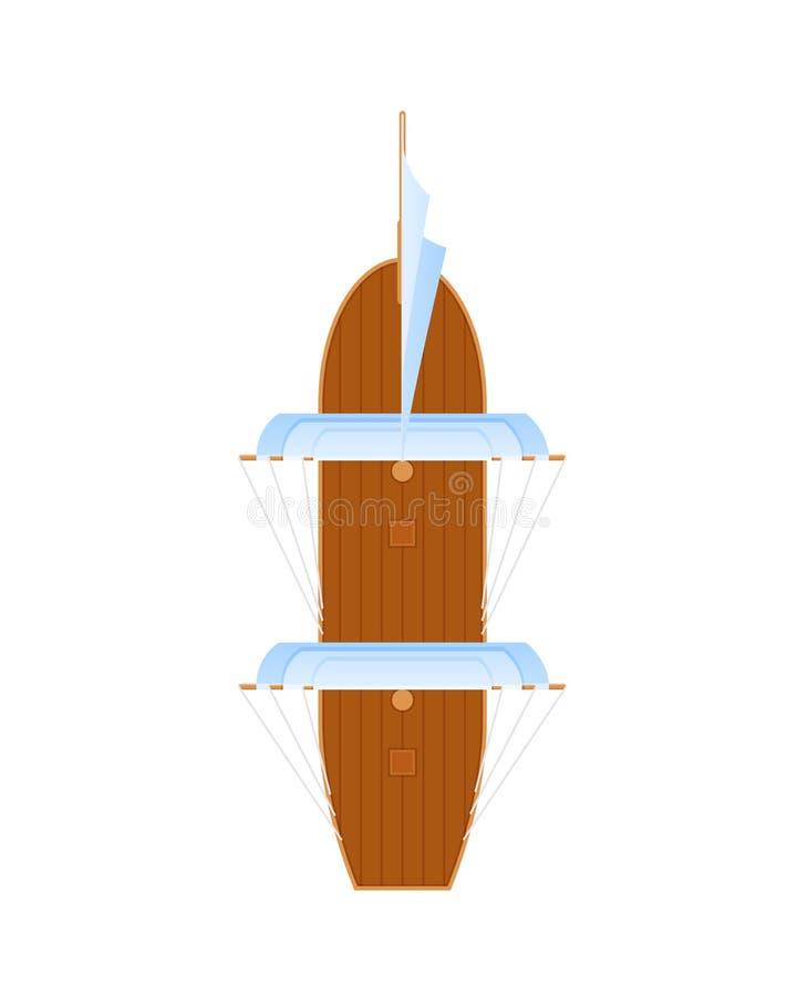 Navigazione della nave di legno antica Trasporto marittimo per trasporto su acqua illustrazione vettoriale
