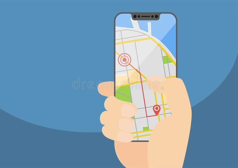 Navigazione di GPS e concetto mobili di percorso con la mano che tiene smartphone senza incastonatura moderno Illustrazione di ve illustrazione vettoriale