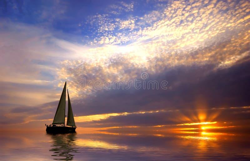 Navigazione e tramonto immagine stock libera da diritti