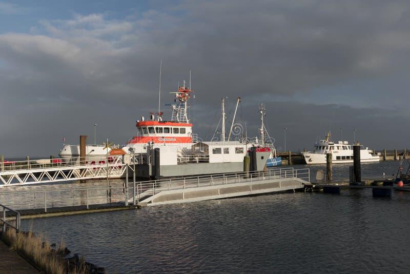 Navigazione Mark Harbor sull'isola frisone del nord Amrum fotografie stock libere da diritti