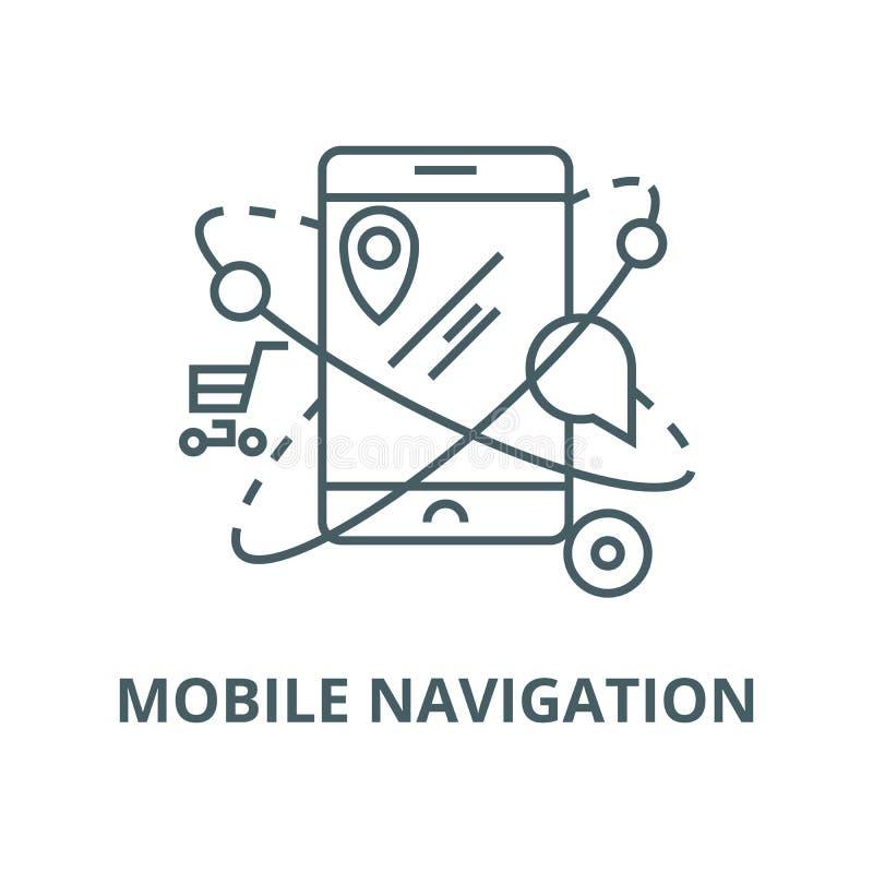 Navigazione mobile, commercio, linea icona, concetto lineare, segno del profilo, simbolo di vettore di posizione illustrazione di stock