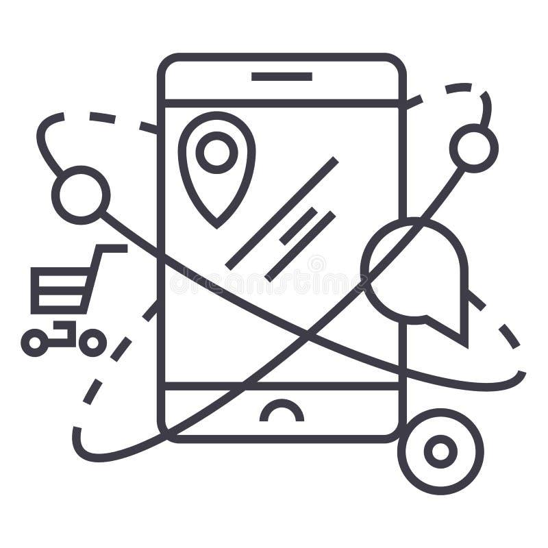 Navigazione mobile, commercio, linea icona, segno, illustrazione di vettore di posizione su fondo, colpi editabili illustrazione di stock