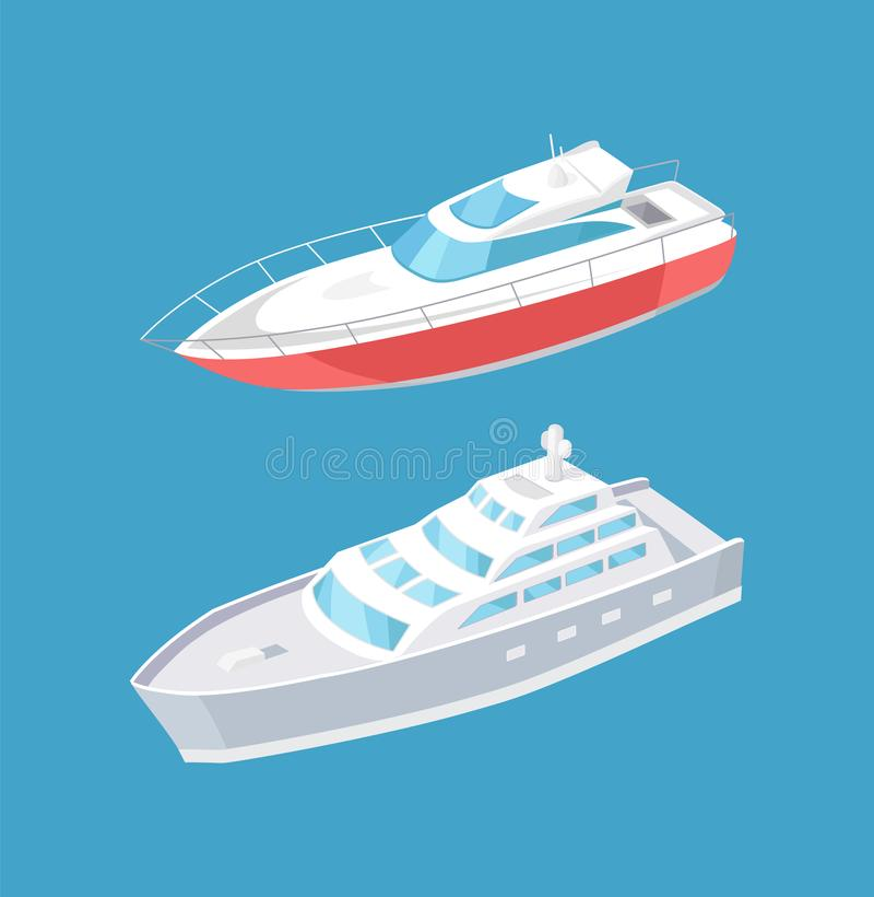 Navigazione moderna degli yacht in nave a vapore profonda dell'acqua blu illustrazione di stock