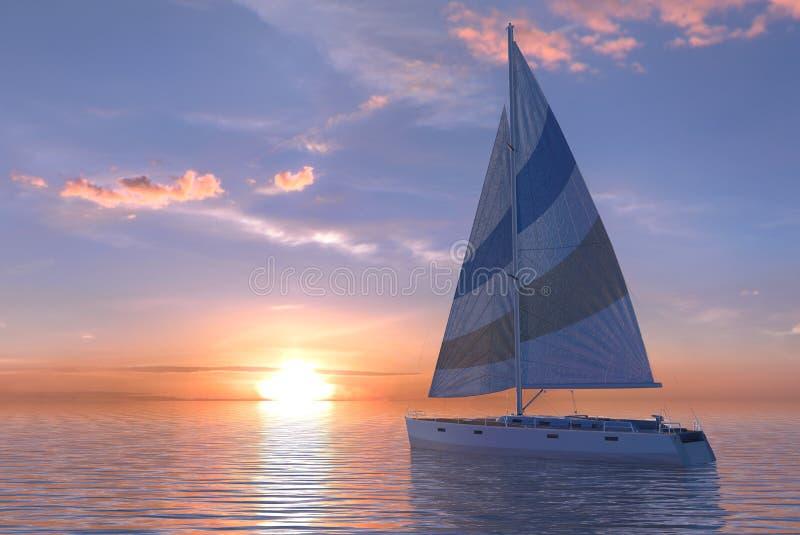 Navigazione sul mare e sull'illustrazione di tramonto 3d illustrazione vettoriale