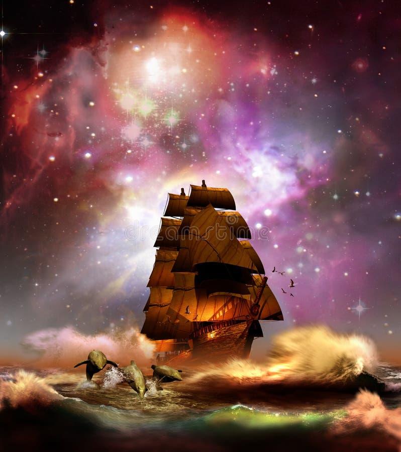 Navigera under stjärnor royaltyfri illustrationer