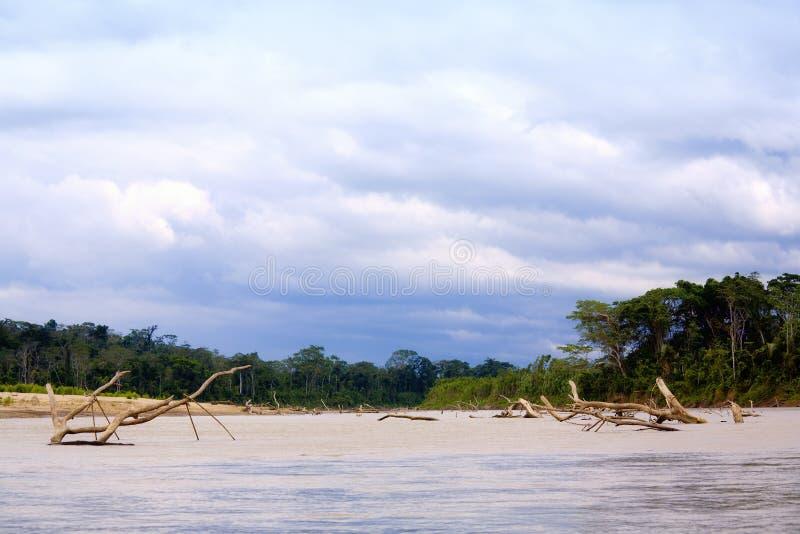 Navigerende Rivier Manu stock fotografie