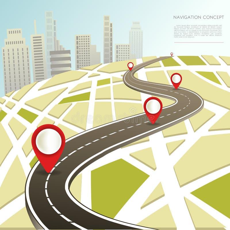 Navigeringöversikt med rutten för väg för bil för lägestiftvektor vektor illustrationer