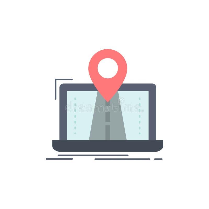 Navigering översikt, system, GPS, för färgsymbol för rutt plan vektor stock illustrationer