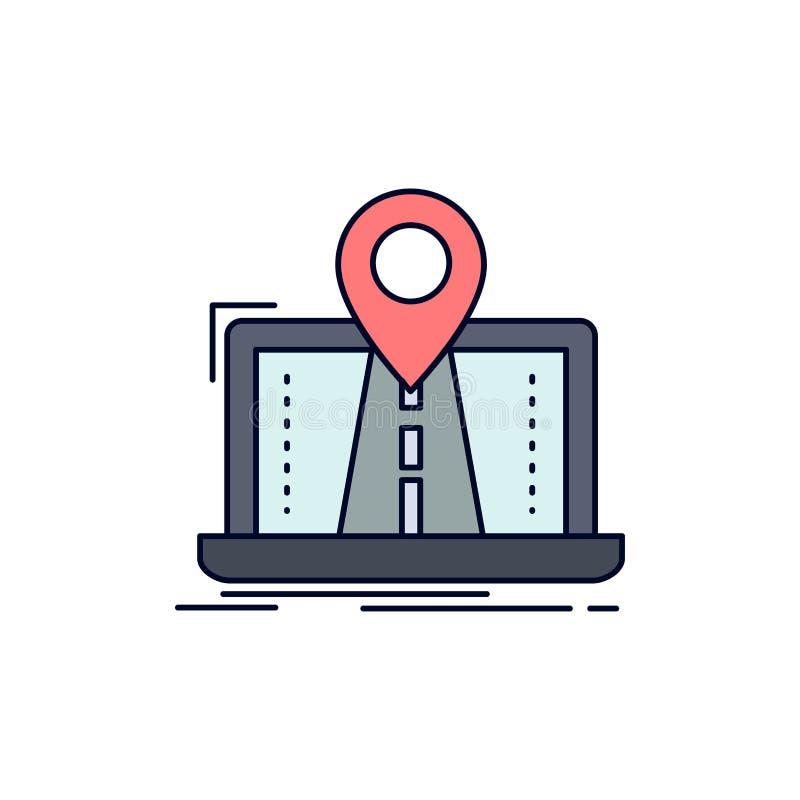 Navigering översikt, system, GPS, för färgsymbol för rutt plan vektor royaltyfri illustrationer