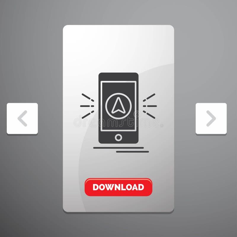 navigering, app, campa, gps, lägeskårasymbol i design för Carousalpagineringsglidare & röd nedladdningknapp vektor illustrationer