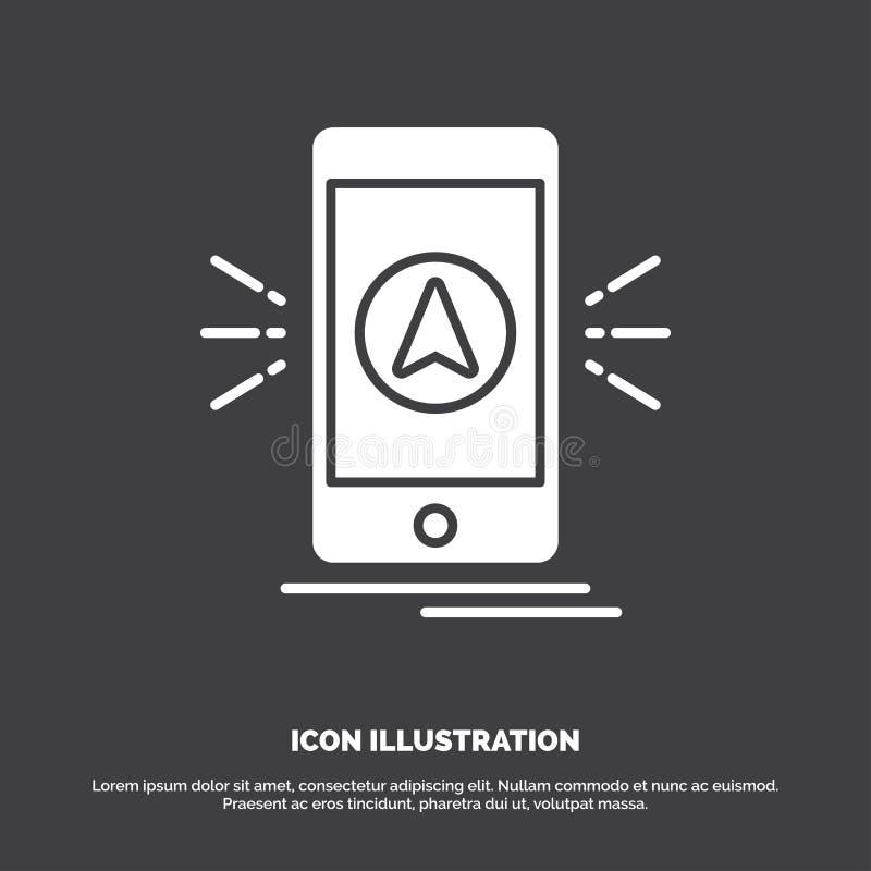 navigering app som campar, gps, lägesymbol r stock illustrationer