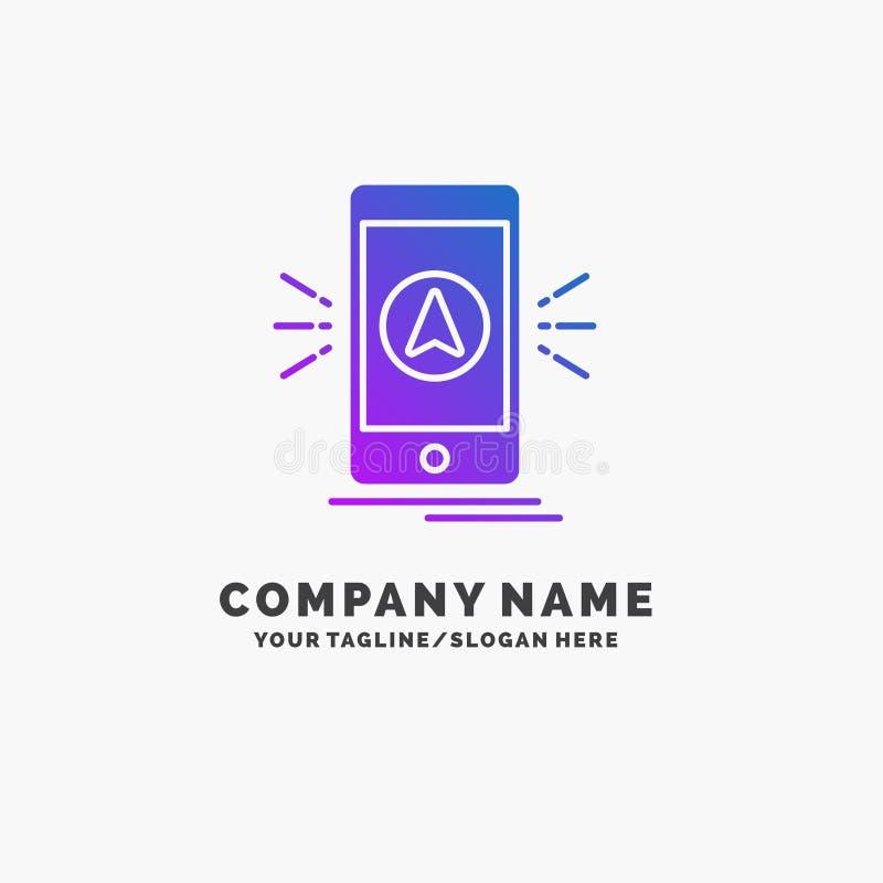 navigering app som campar, gps, purpurfärgad affär Logo Template för läge St?lle f?r Tagline vektor illustrationer