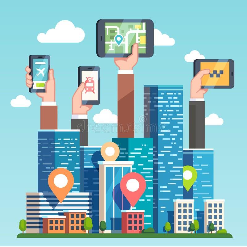 Navigering för stadsområdegps-översikt via apparater royaltyfri illustrationer