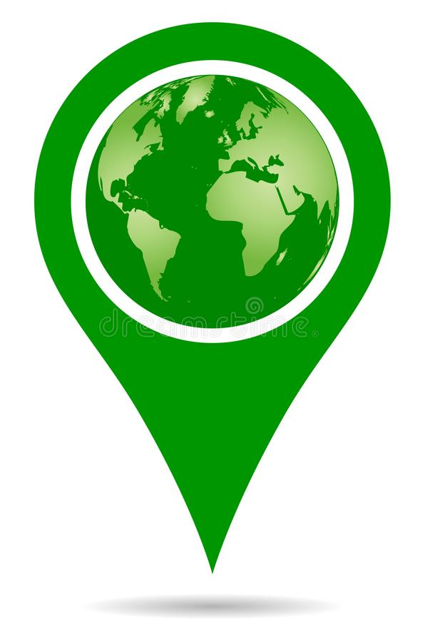 Navigering för stift för översikt för pekare för grön färg för vektor med jordklotet vektor illustrationer