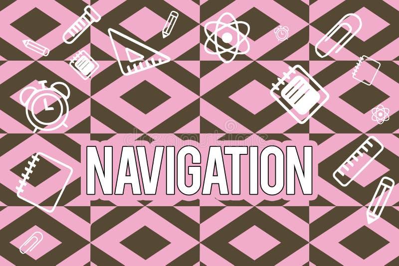 Navigering för textteckenvisning Begreppsmässig fotovetenskap av att få sänder flygplanrymdskeppet från ställe till stället stock illustrationer