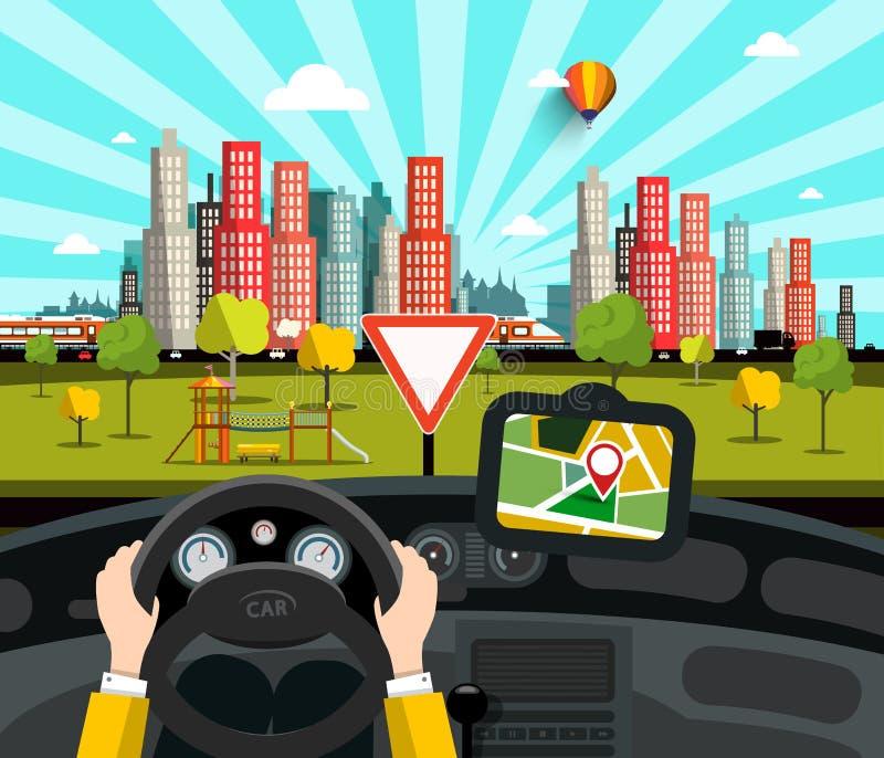 Navigering i bil med staden på bakgrund vektor illustrationer