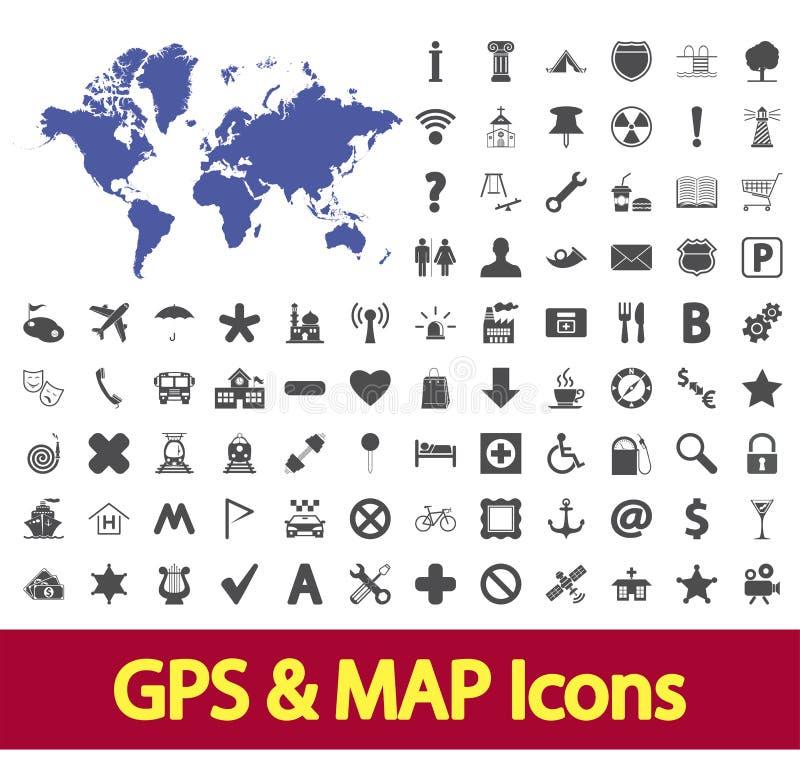 Navigering kartlägger symboler. royaltyfri illustrationer