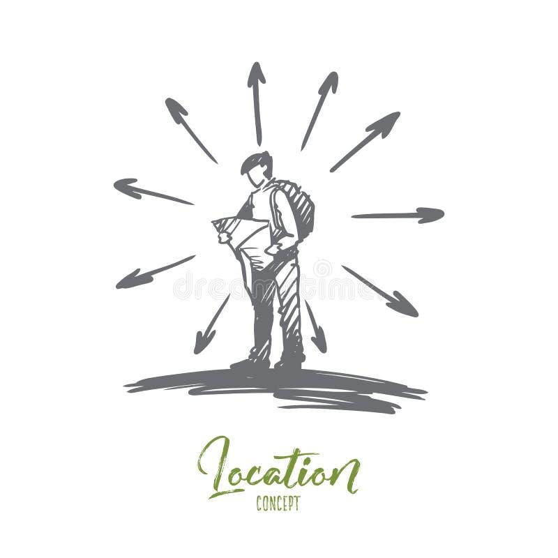Navigering läge, översikt, väg, loppbegrepp Hand dragen isolerad vektor stock illustrationer