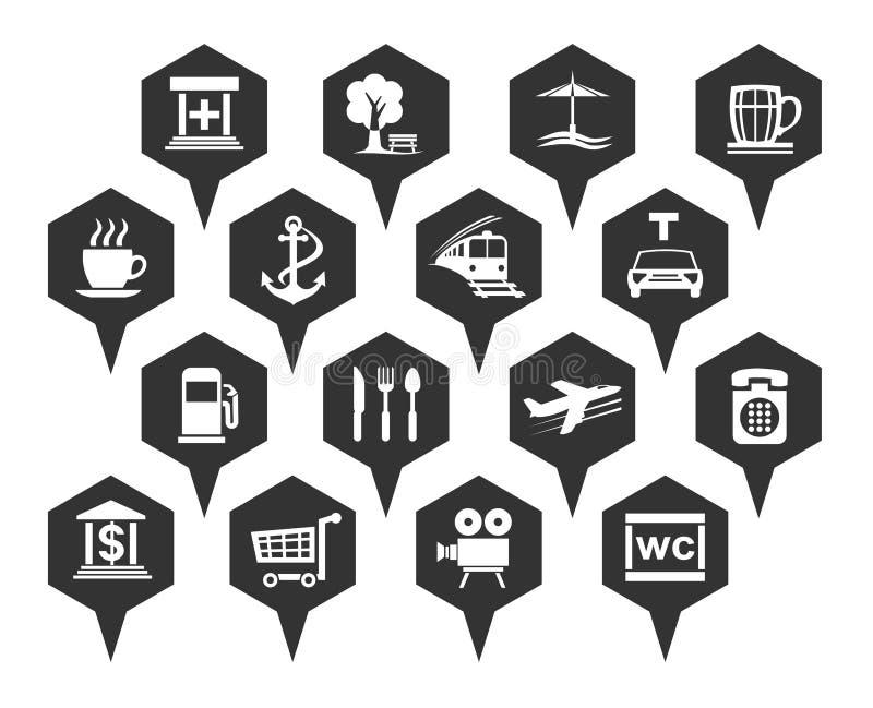 Navigering-, läge- och trans.symboler stock illustrationer
