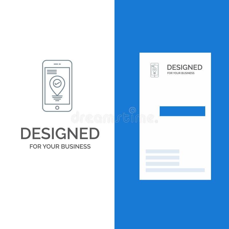 Navigering, läge, pekare, Smartphone Grey Logo Design och mall för affärskort royaltyfri illustrationer