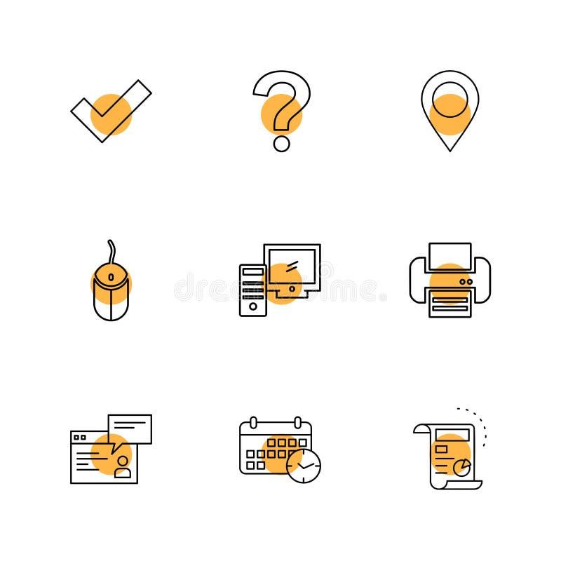 navigering mus, skrivare, qustionfläck, dator, apparat royaltyfri illustrationer