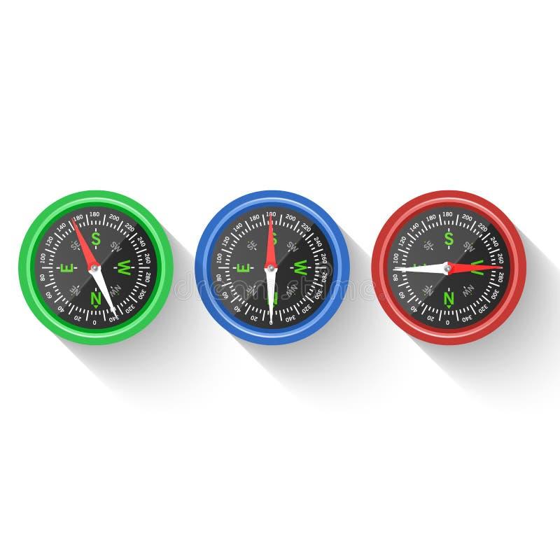 Navigering- och riktningssymbol Kompass, riktning och navigering för affärsföretaget, illustration av kompasspilen som isoleras p stock illustrationer