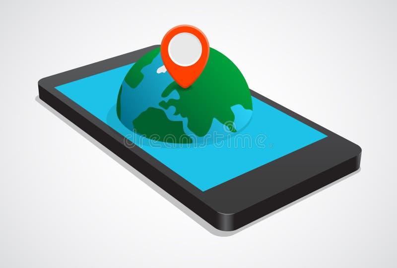 Navigering på mobiltelefonen royaltyfri illustrationer