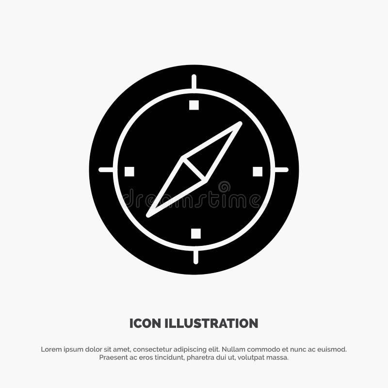 Navigering riktning, kompass, fast svart skårasymbol för Gps vektor illustrationer
