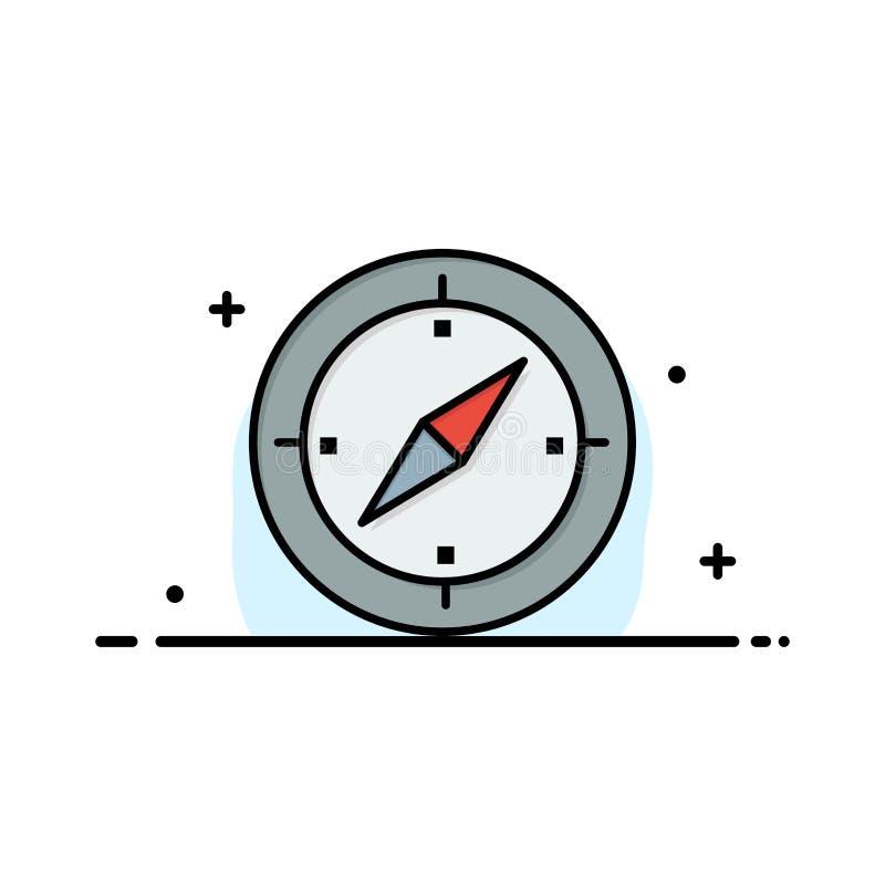Navigering riktning, kompass, Gps-affär Logo Template plan f?rg royaltyfri illustrationer