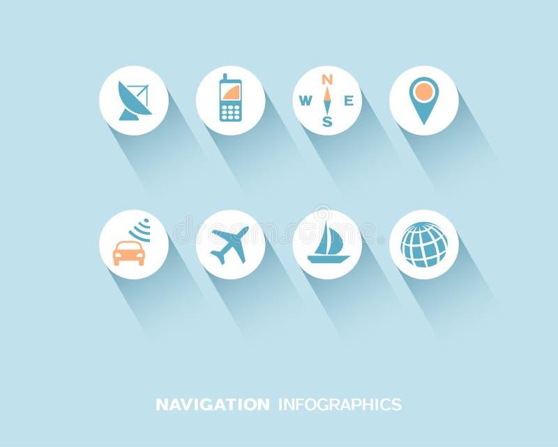 Navigering som är infographic med den plana symbolsuppsättningen vektor illustrationer