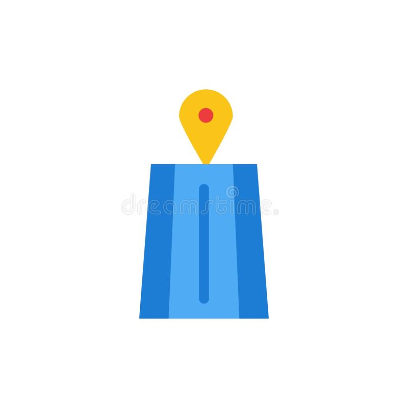 Navigering väg, plan färgsymbol för rutt Mall för vektorsymbolsbaner stock illustrationer